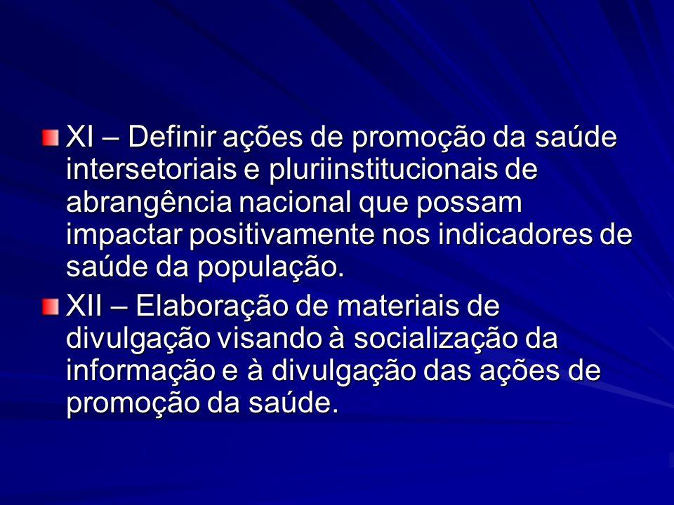 XI – Definir ações de promoção da saúde intersetoriais e pluriinstitucionais de abrangência nacional que possam impactar positivamente nos indicadores de saúde da população.