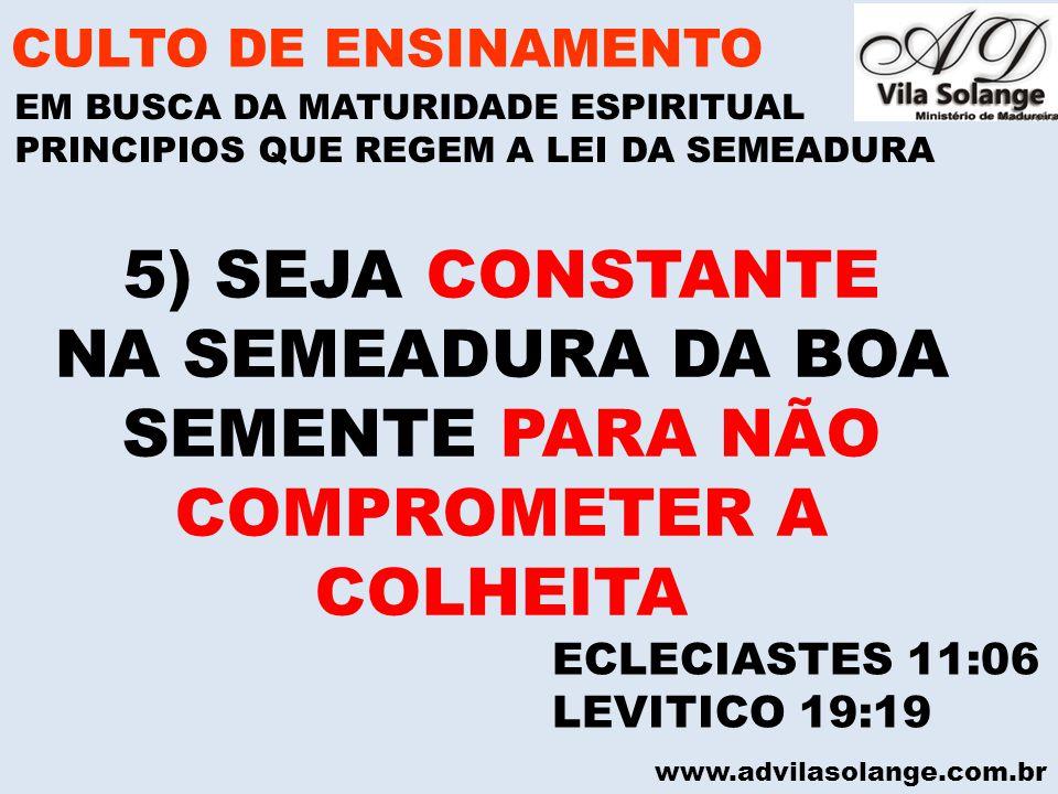 NA SEMEADURA DA BOA SEMENTE PARA NÃO COMPROMETER A COLHEITA