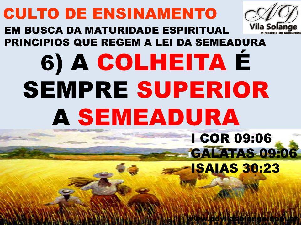 6) A COLHEITA É SEMPRE SUPERIOR A SEMEADURA