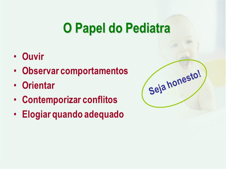 O Papel do Pediatra Ouvir Observar comportamentos Orientar