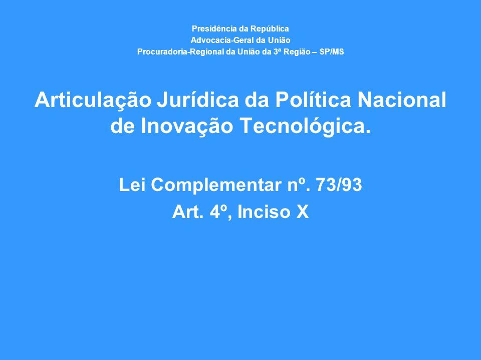 Articulação Jurídica da Política Nacional de Inovação Tecnológica.