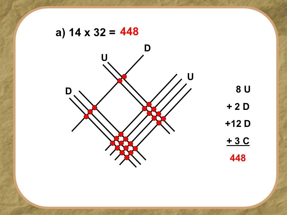 a) 14 x 32 = 448 D U U D 8 U + 2 D +12 D + 3 C 448