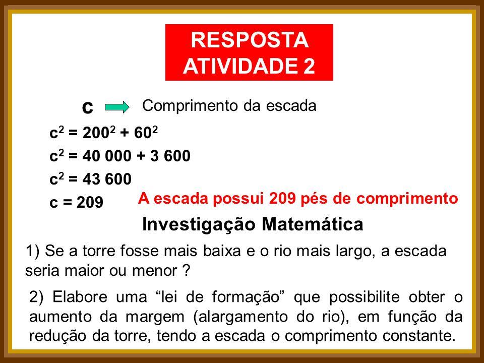 RESPOSTA ATIVIDADE 2 c Investigação Matemática Comprimento da escada