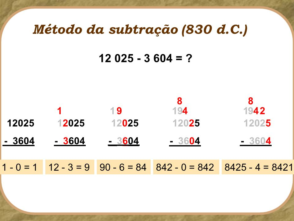 Método da subtração (830 d.C.)