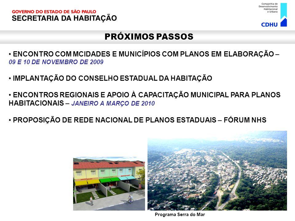 PRÓXIMOS PASSOS ENCONTRO COM MCIDADES E MUNICÍPIOS COM PLANOS EM ELABORAÇÃO – 09 E 10 DE NOVEMBRO DE 2009.