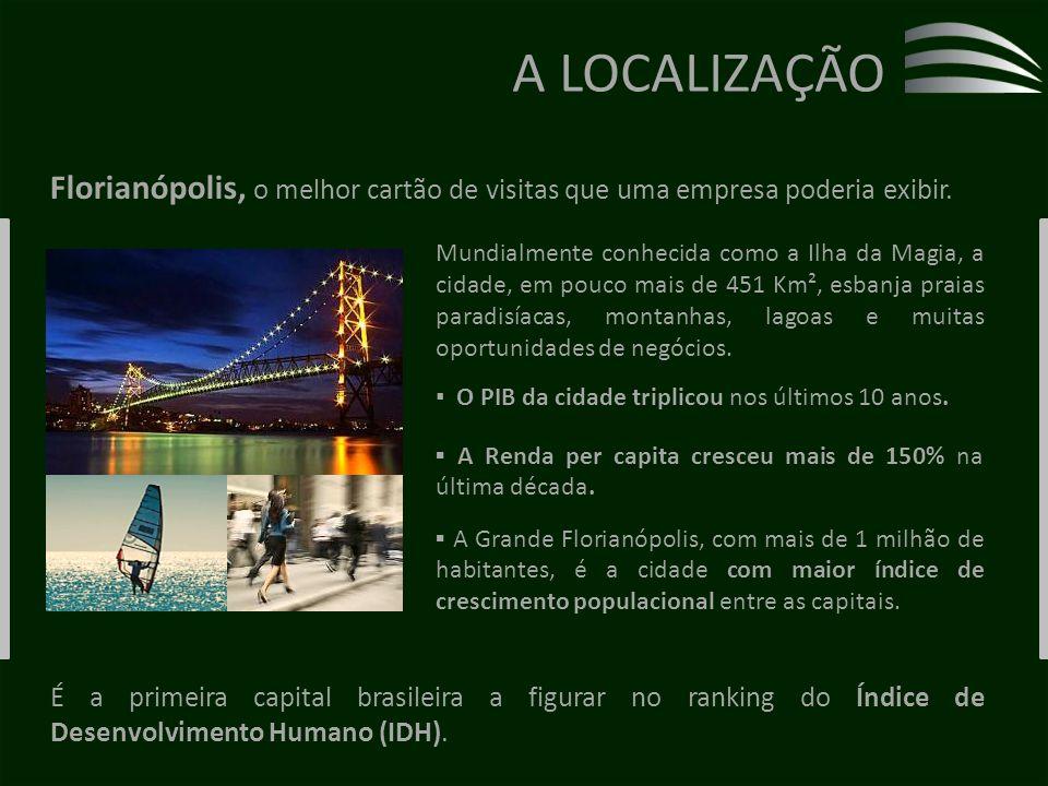A LOCALIZAÇÃO Florianópolis, o melhor cartão de visitas que uma empresa poderia exibir.