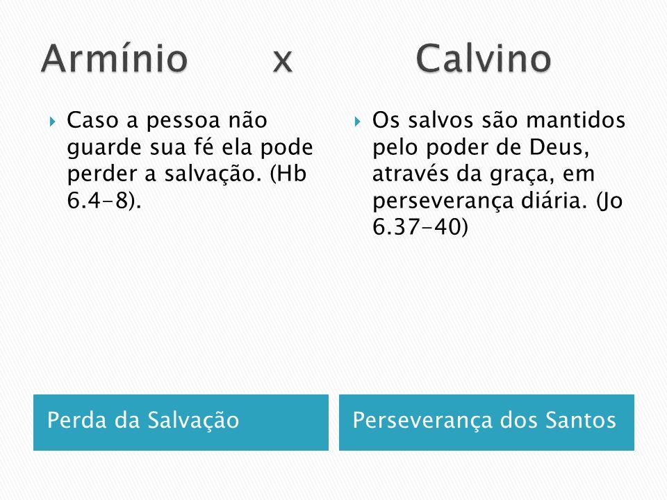 Armínio x Calvino Caso a pessoa não guarde sua fé ela pode perder a salvação. (Hb 6.4-8).