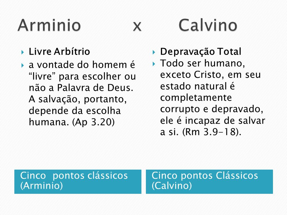 Arminio x Calvino Livre Arbítrio
