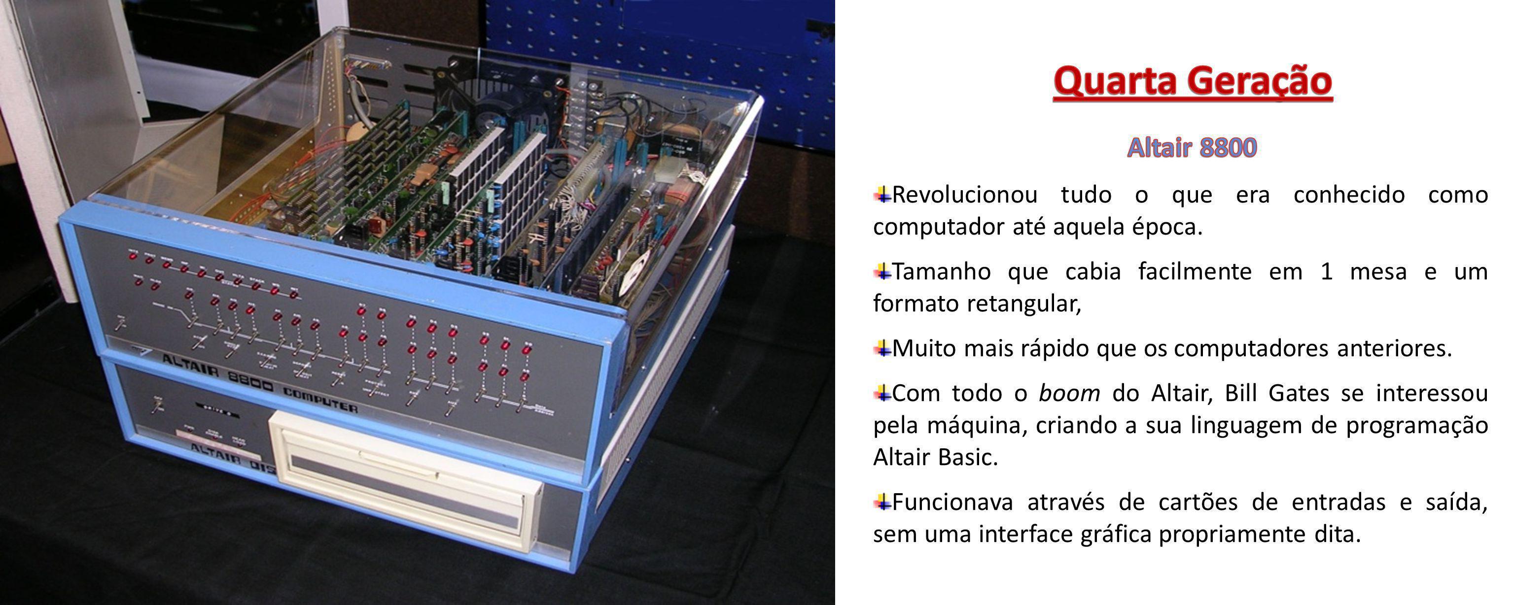 Quarta Geração Altair 8800. Revolucionou tudo o que era conhecido como computador até aquela época.