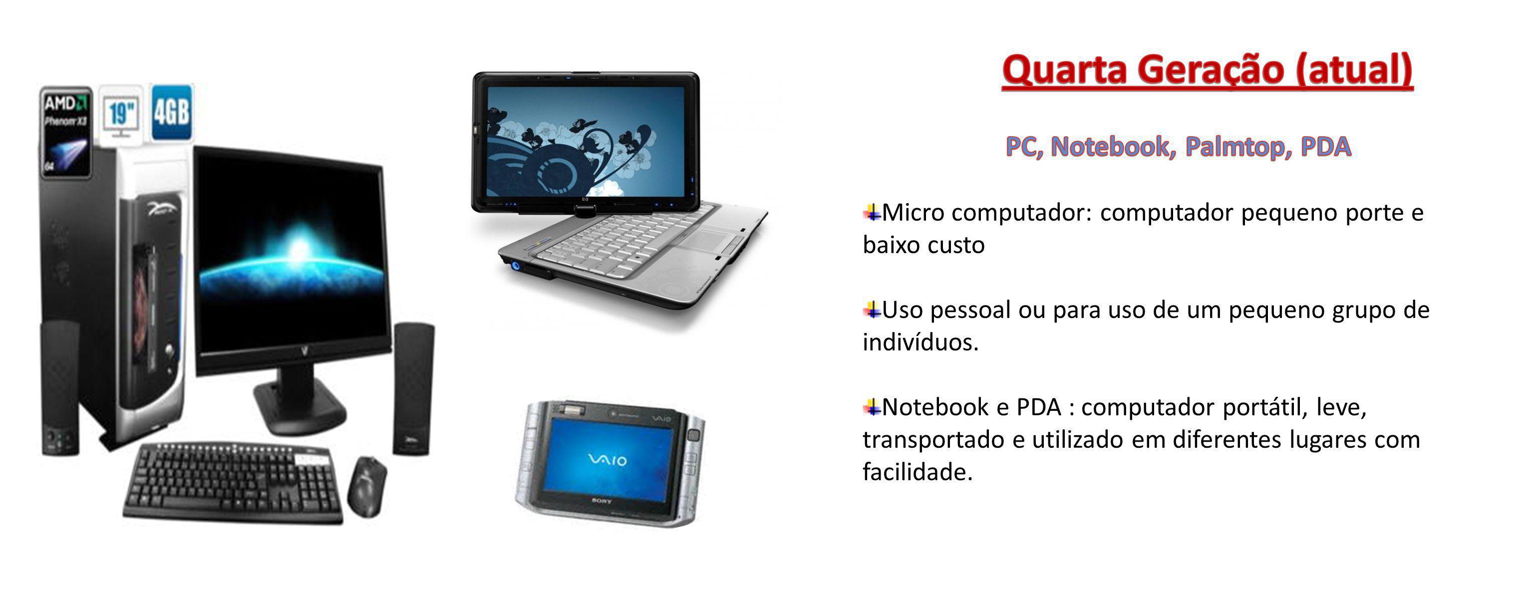 Quarta Geração (atual) PC, Notebook, Palmtop, PDA