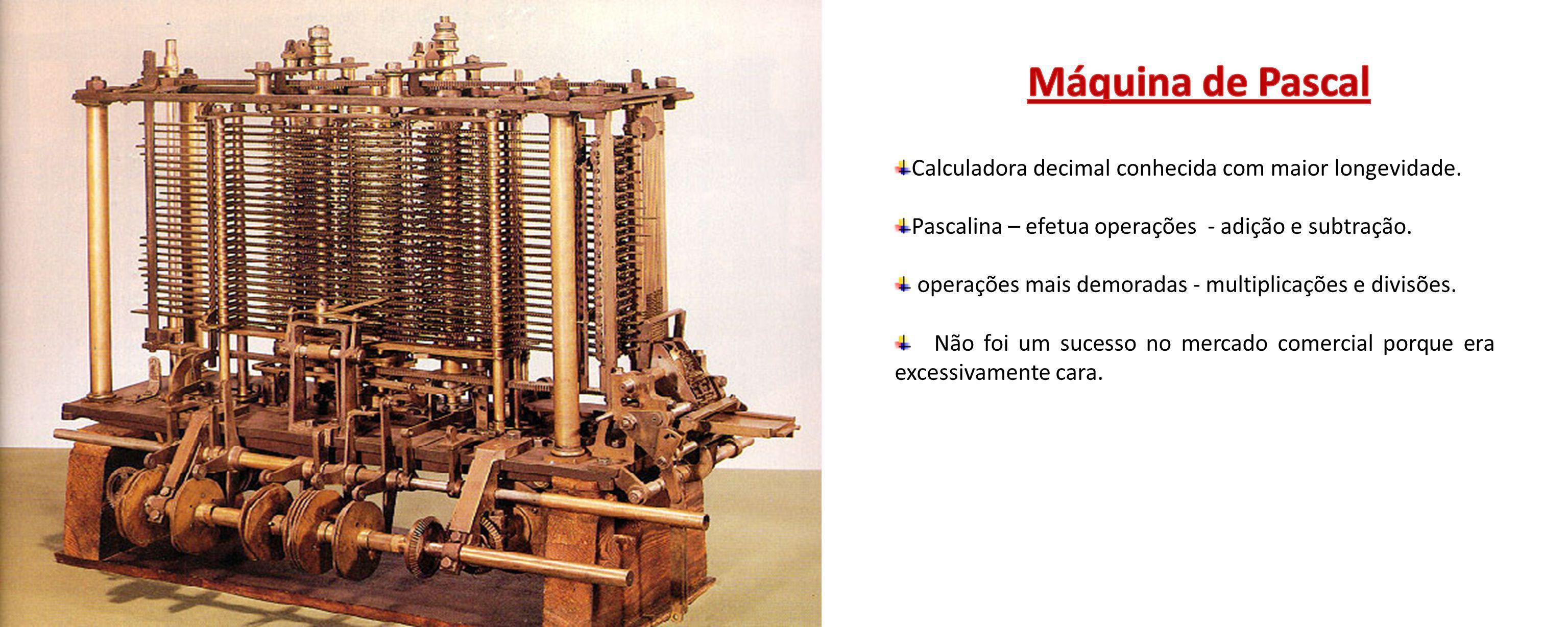 Máquina de Pascal Calculadora decimal conhecida com maior longevidade.