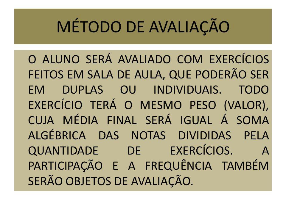 MÉTODO DE AVALIAÇÃO