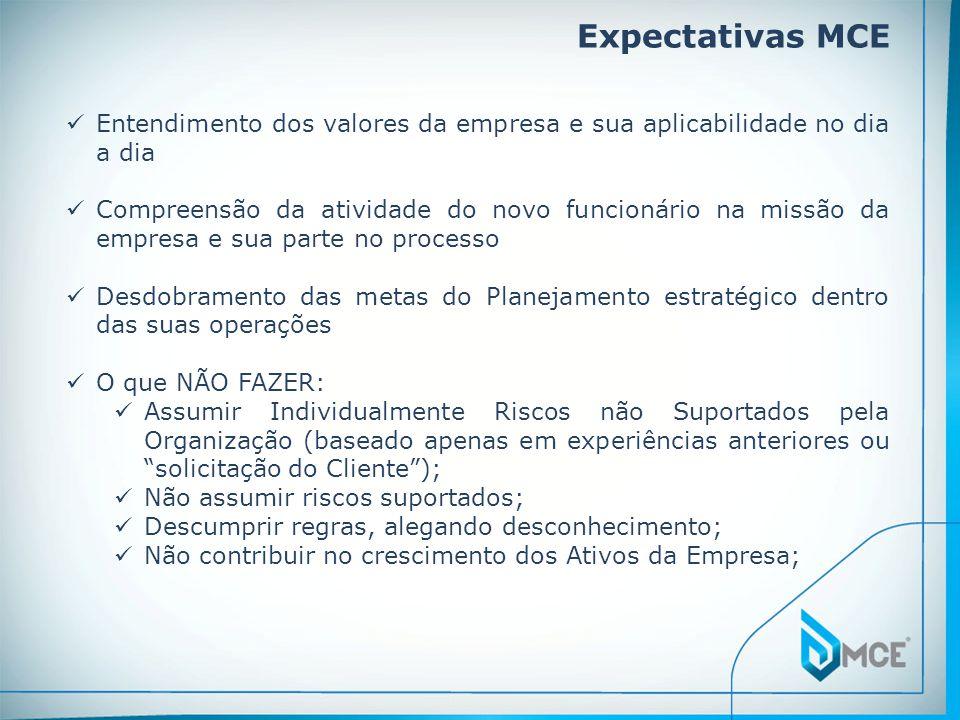 Expectativas MCE Entendimento dos valores da empresa e sua aplicabilidade no dia a dia.