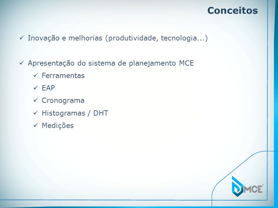 Conceitos Inovação e melhorias (produtividade, tecnologia...)