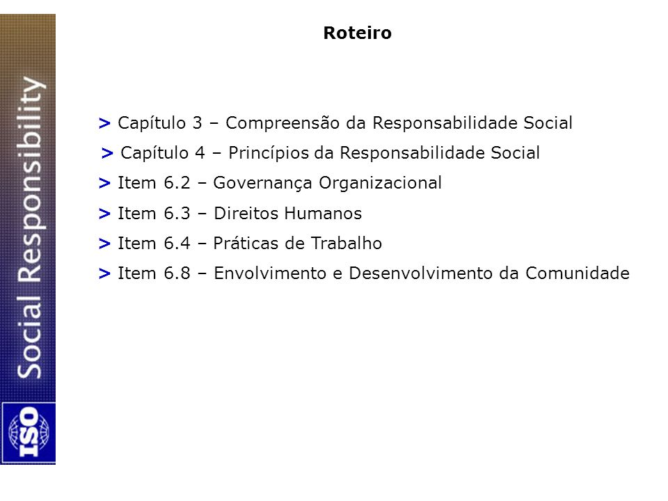 Roteiro > Capítulo 3 – Compreensão da Responsabilidade Social. > Capítulo 4 – Princípios da Responsabilidade Social.