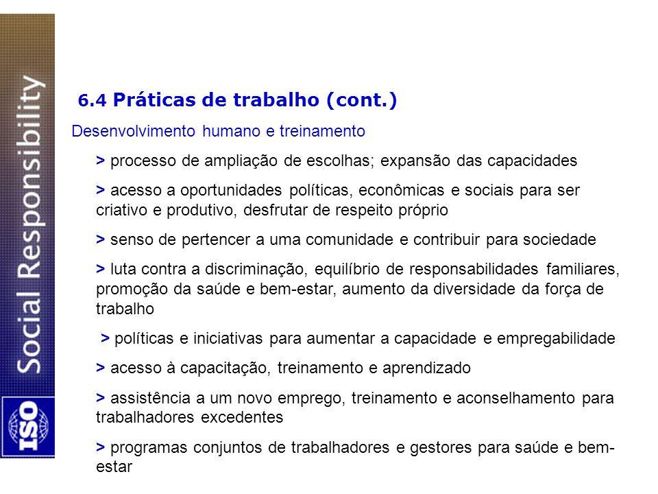 6.4 Práticas de trabalho (cont.)