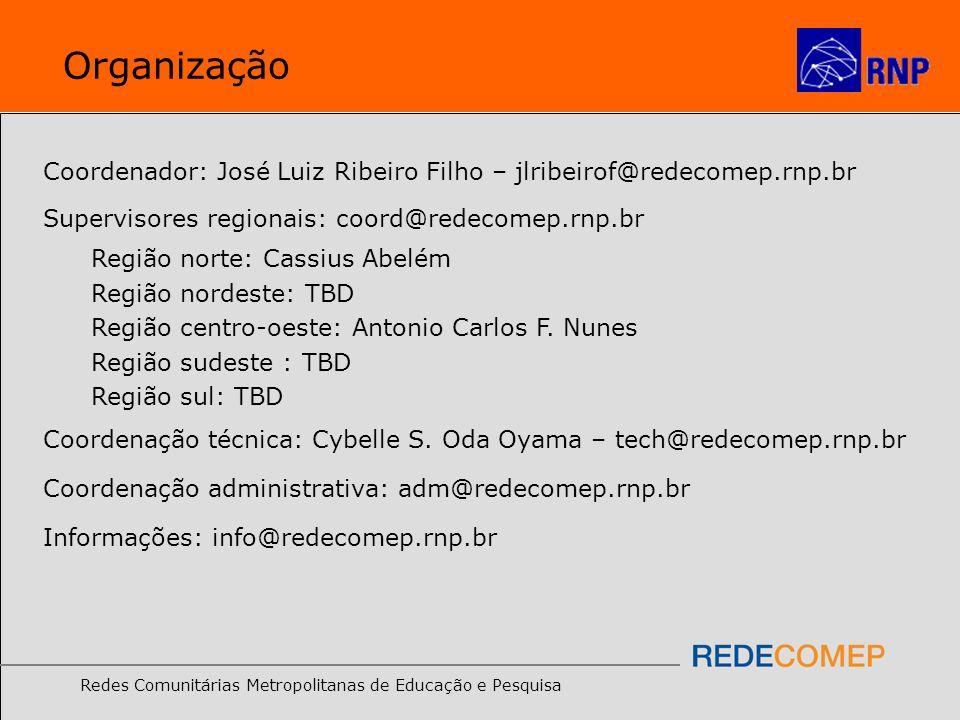Organização Coordenador: José Luiz Ribeiro Filho – jlribeirof@redecomep.rnp.br. Supervisores regionais: coord@redecomep.rnp.br.