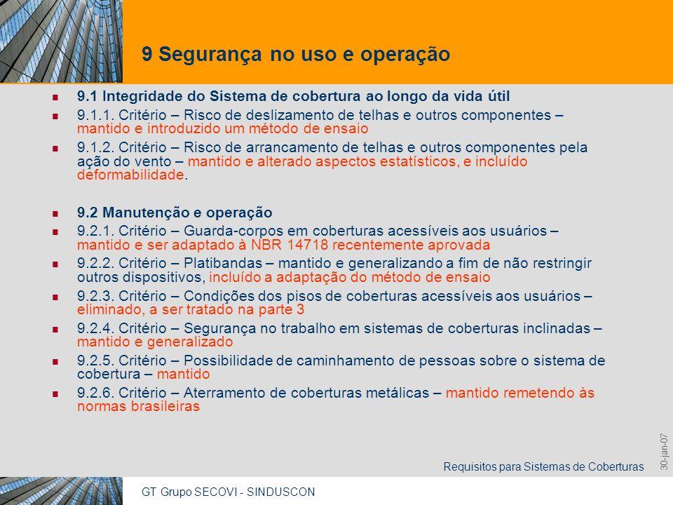 9 Segurança no uso e operação