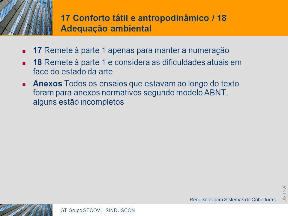 17 Conforto tátil e antropodinâmico / 18 Adequação ambiental