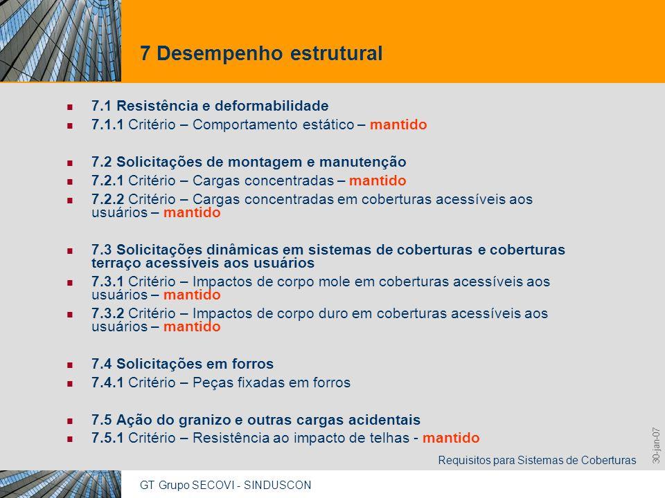 7 Desempenho estrutural