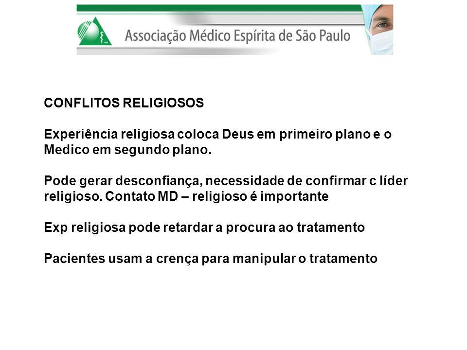 CONFLITOS RELIGIOSOS Experiência religiosa coloca Deus em primeiro plano e o. Medico em segundo plano.