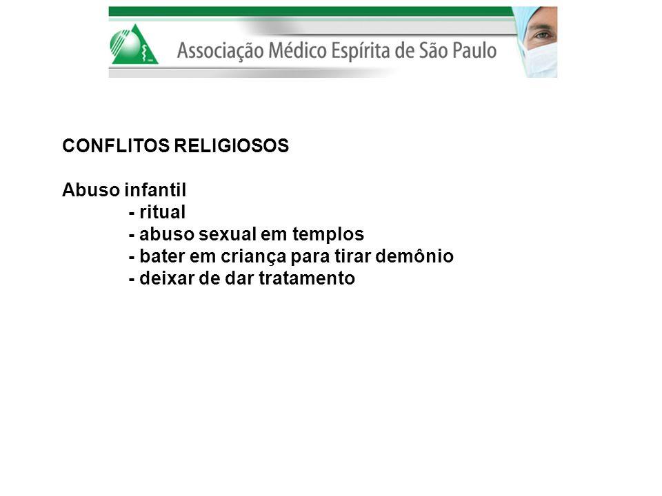CONFLITOS RELIGIOSOS Abuso infantil. - ritual. - abuso sexual em templos. - bater em criança para tirar demônio.