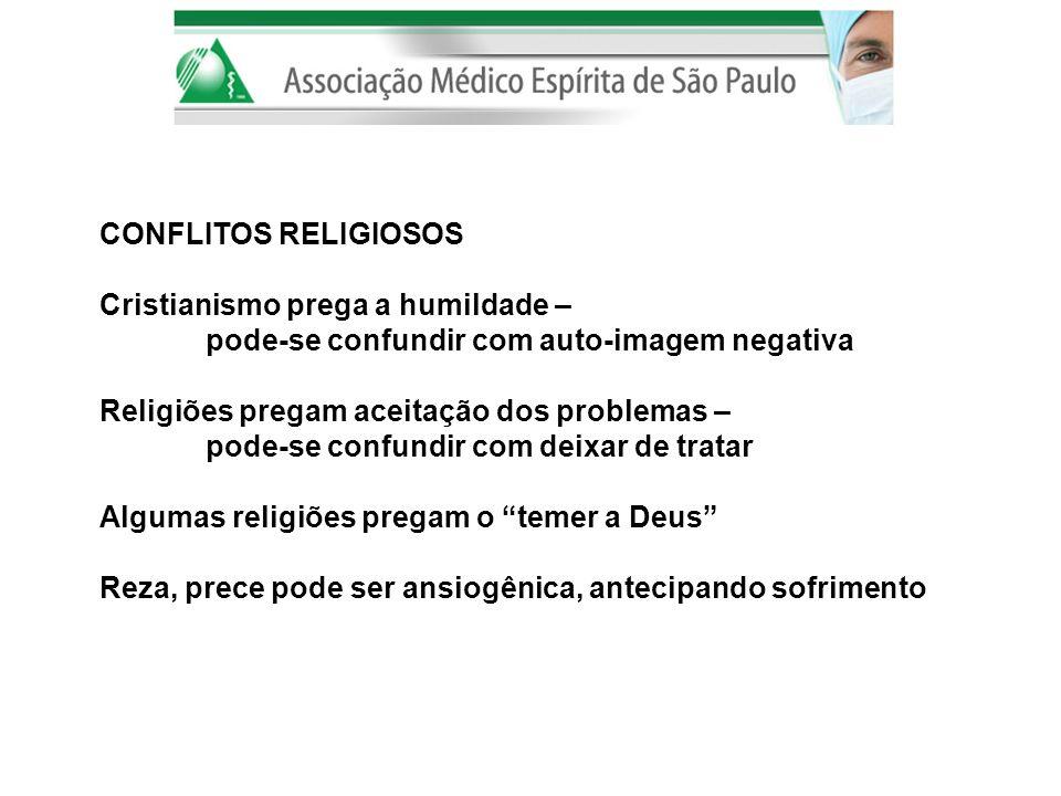 CONFLITOS RELIGIOSOS Cristianismo prega a humildade – pode-se confundir com auto-imagem negativa. Religiões pregam aceitação dos problemas –