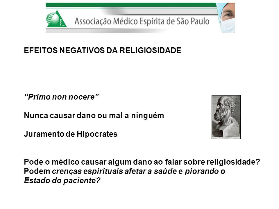 EFEITOS NEGATIVOS DA RELIGIOSIDADE