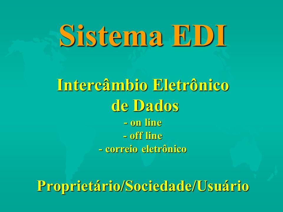 Sistema EDI Intercâmbio Eletrônico de Dados - on line - off line - correio eletrônico Proprietário/Sociedade/Usuário