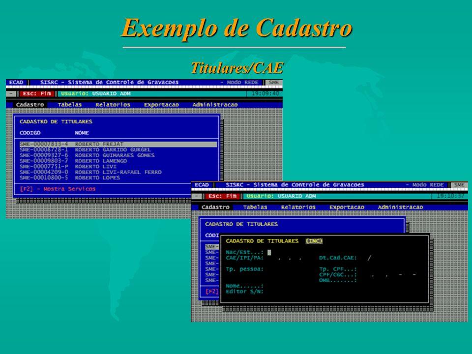 Exemplo de Cadastro Titulares/CAE 21