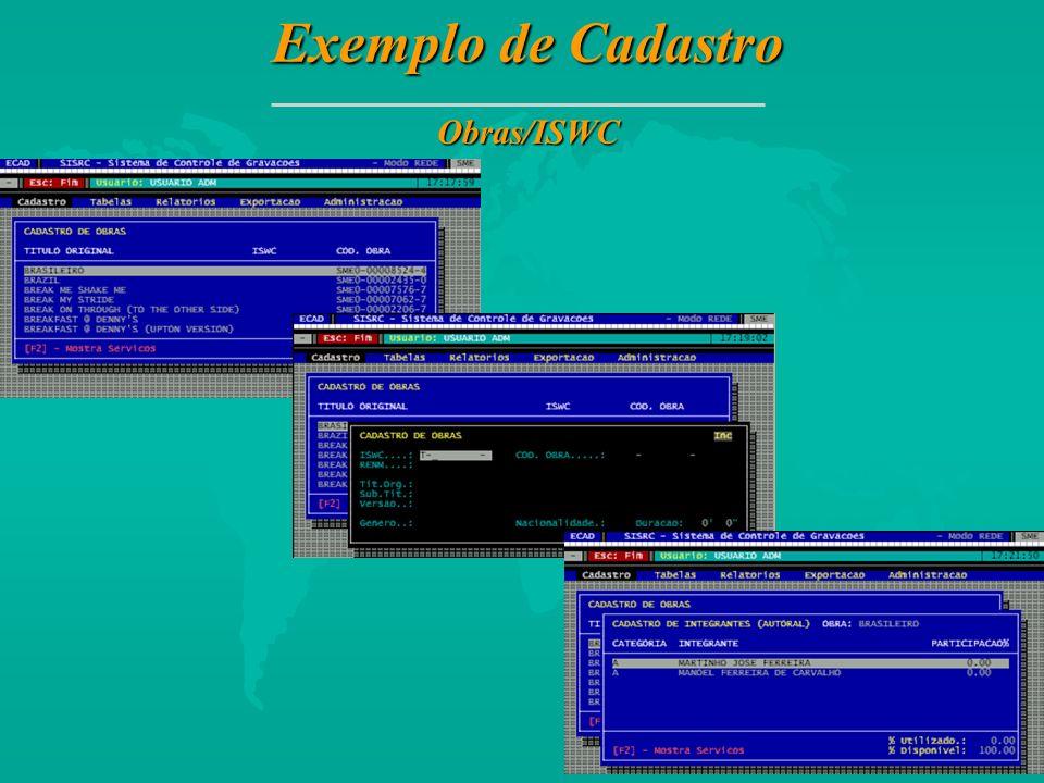 Exemplo de Cadastro Obras/ISWC 23