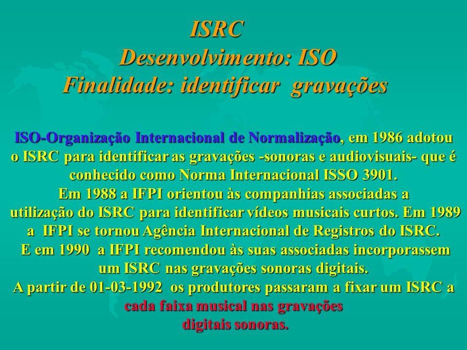 ISRC Desenvolvimento: ISO Finalidade: identificar gravações