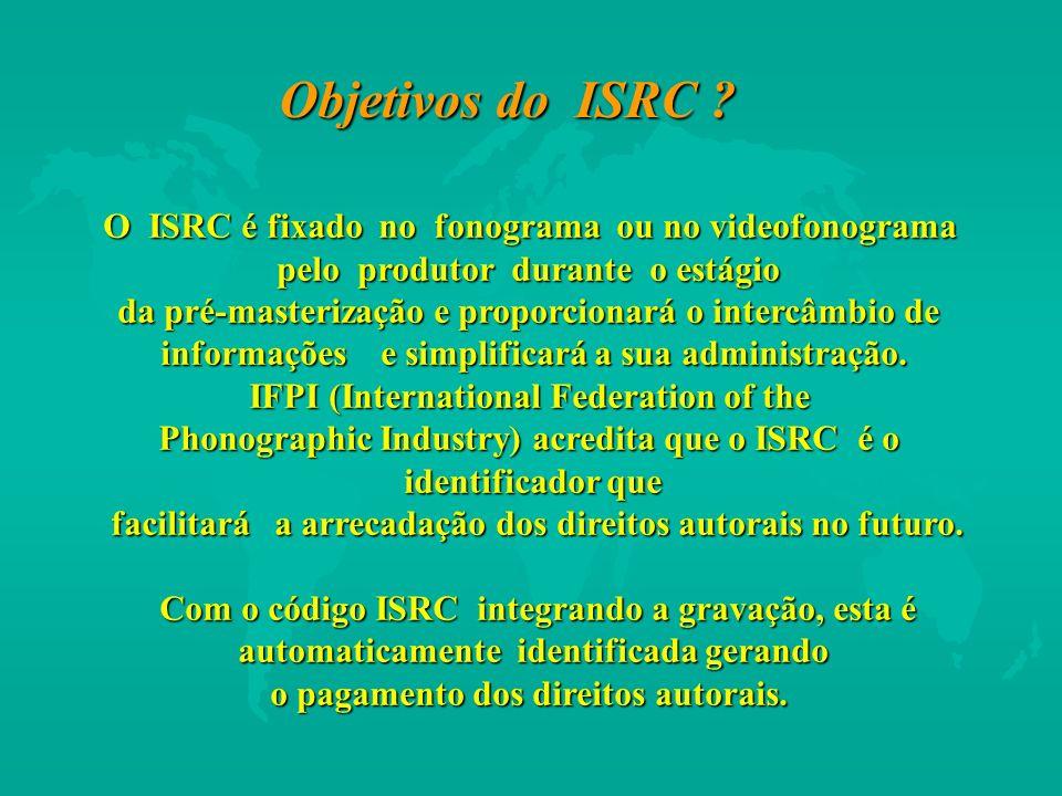 Objetivos do ISRC O ISRC é fixado no fonograma ou no videofonograma