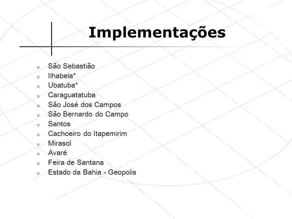 Implementações São Sebastião Ilhabela* Ubatuba* Caraguatatuba
