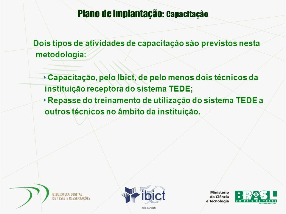 Plano de implantação: Capacitação