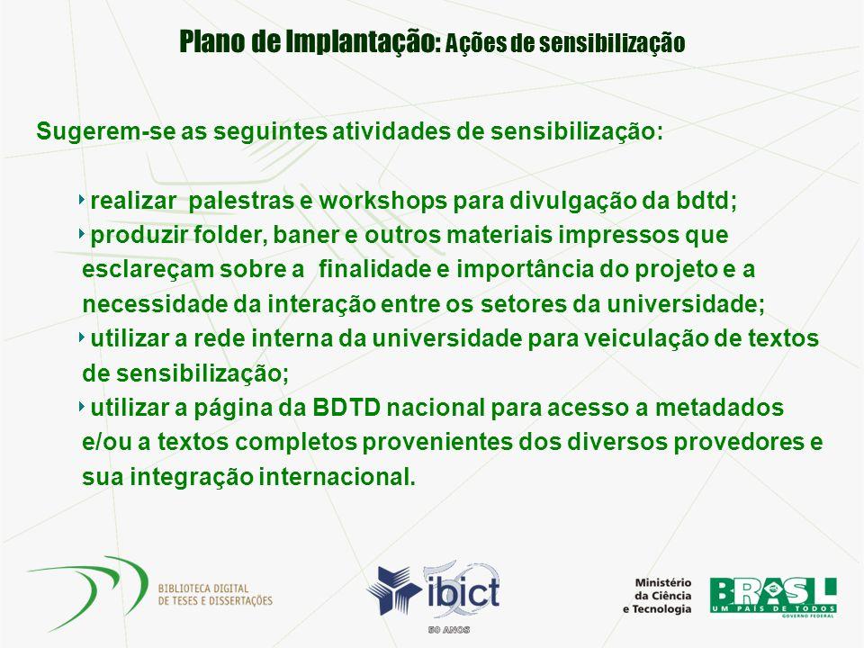 Plano de Implantação: Ações de sensibilização