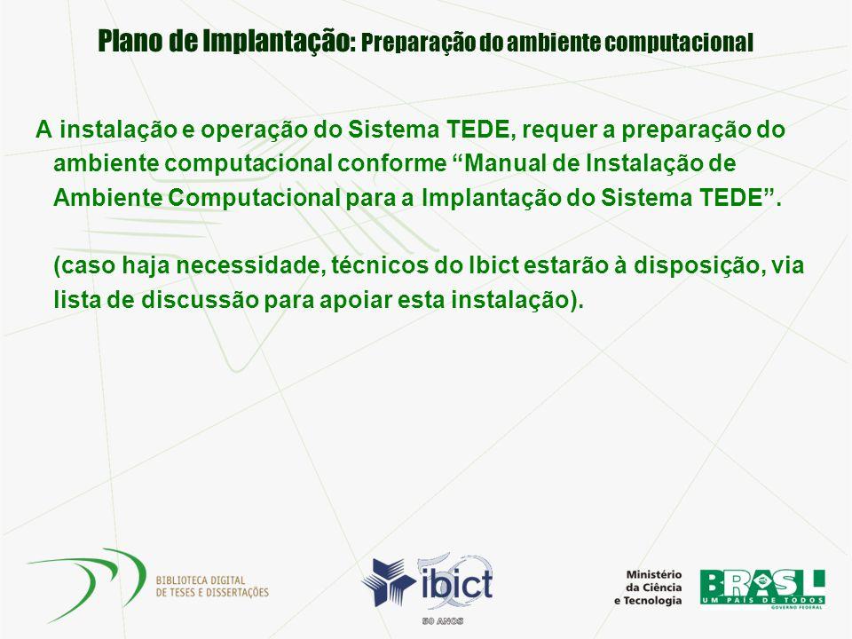 Plano de Implantação: Preparação do ambiente computacional