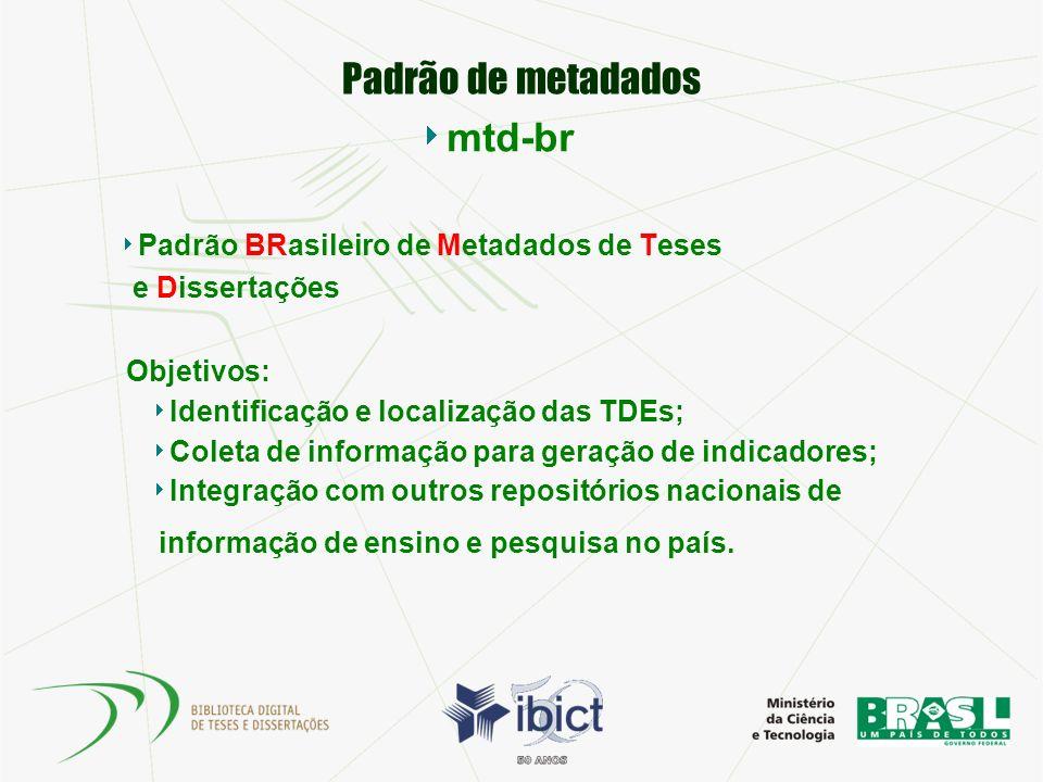Padrão de metadados mtd-br Padrão BRasileiro de Metadados de Teses