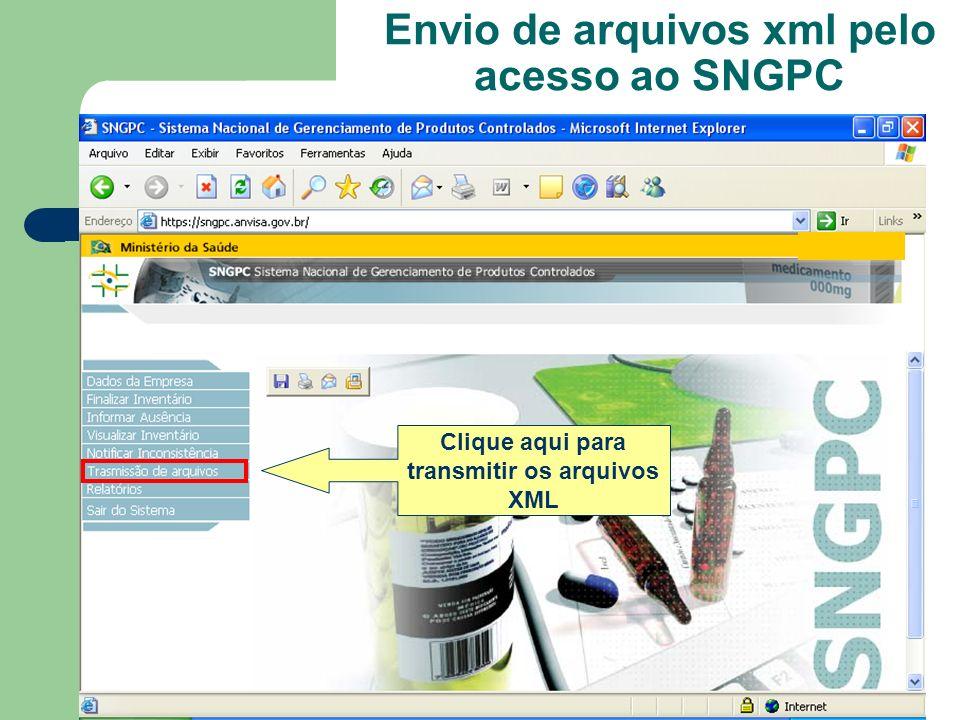 Envio de arquivos xml pelo acesso ao SNGPC