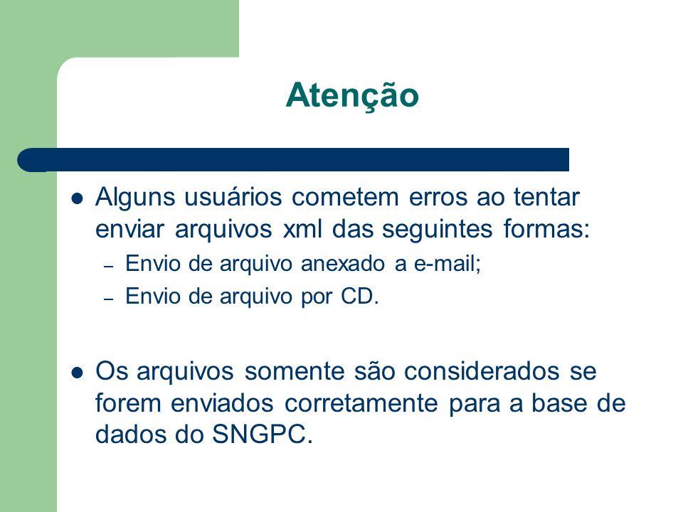 AtençãoAlguns usuários cometem erros ao tentar enviar arquivos xml das seguintes formas: Envio de arquivo anexado a e-mail;