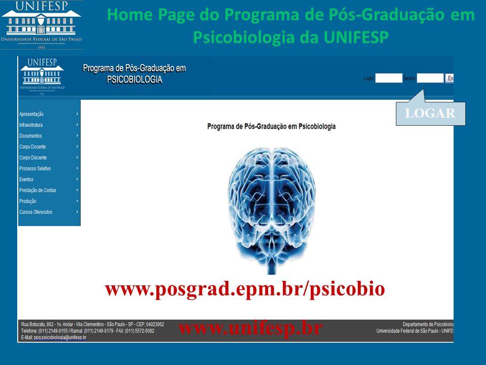 Home Page do Programa de Pós-Graduação em Psicobiologia da UNIFESP