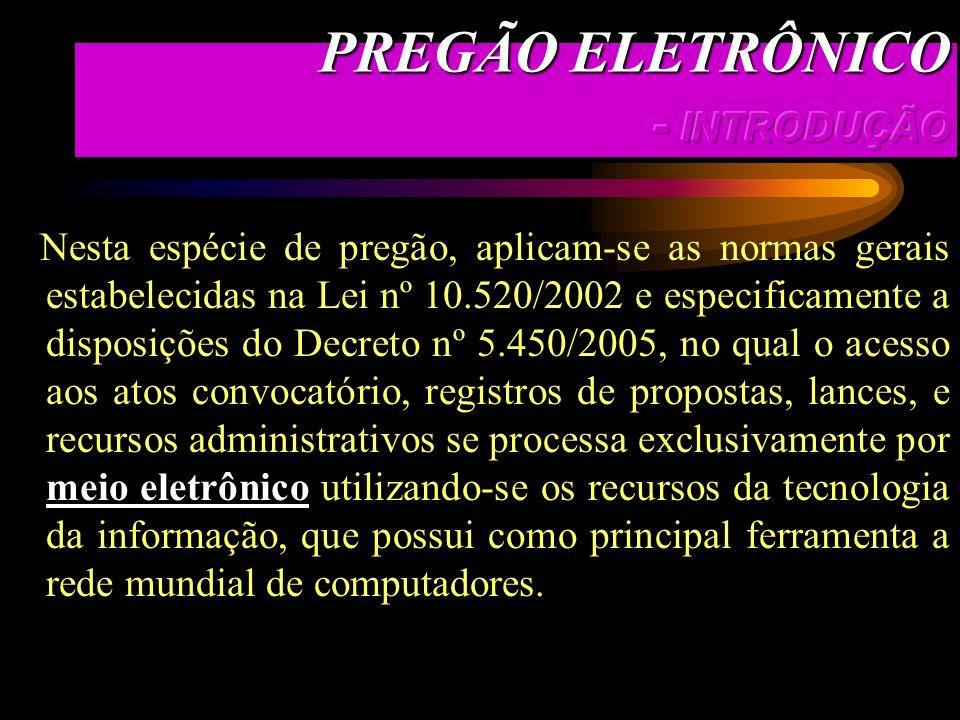 PREGÃO ELETRÔNICO - INTRODUÇÃO