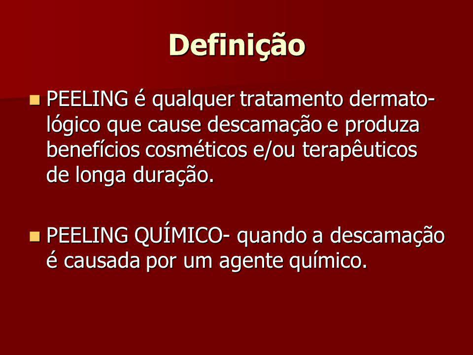 DefiniçãoPEELING é qualquer tratamento dermato-lógico que cause descamação e produza benefícios cosméticos e/ou terapêuticos de longa duração.