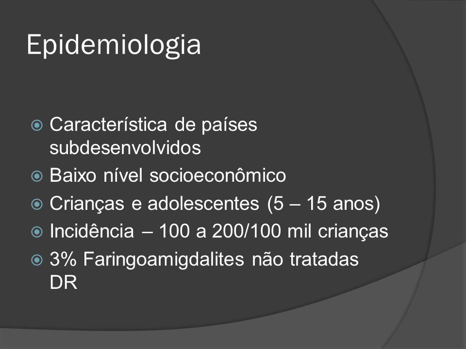 Epidemiologia Característica de países subdesenvolvidos