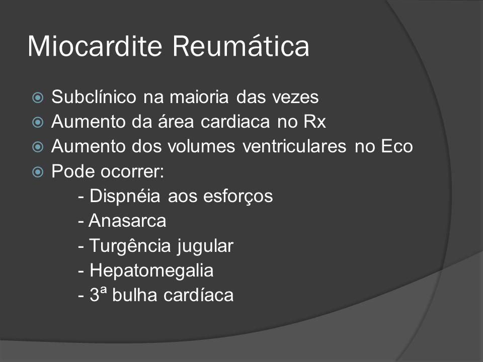 Miocardite Reumática Subclínico na maioria das vezes