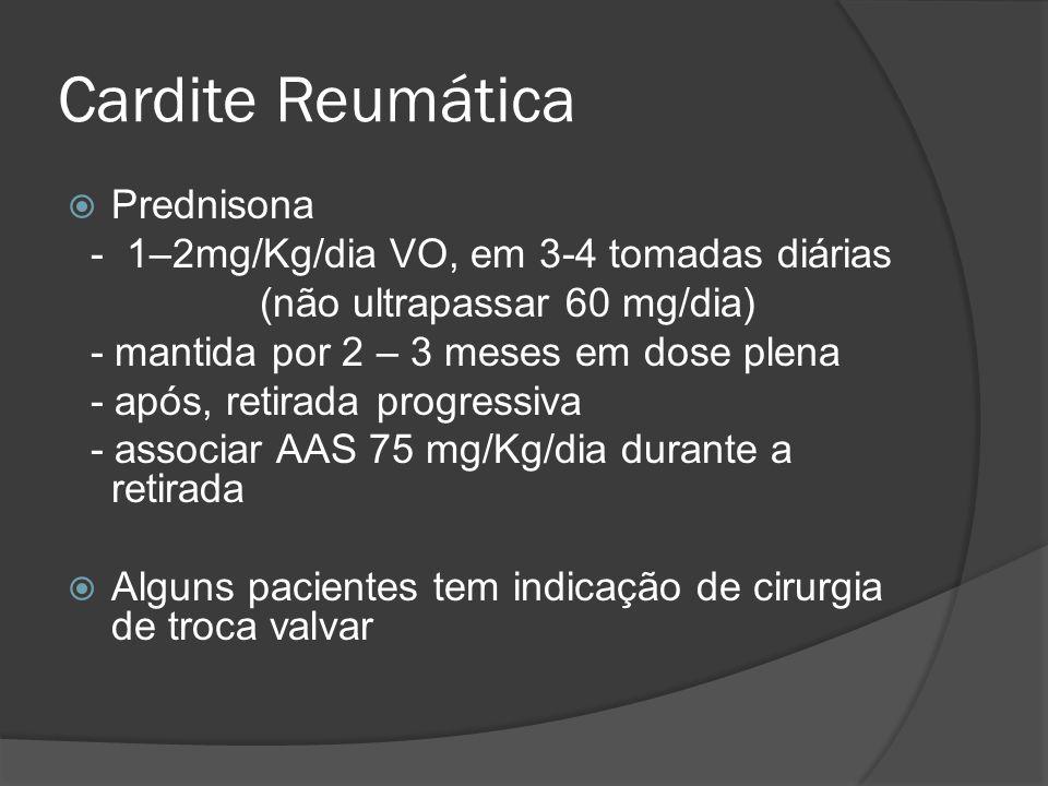 Cardite Reumática Prednisona - 1–2mg/Kg/dia VO, em 3-4 tomadas diárias