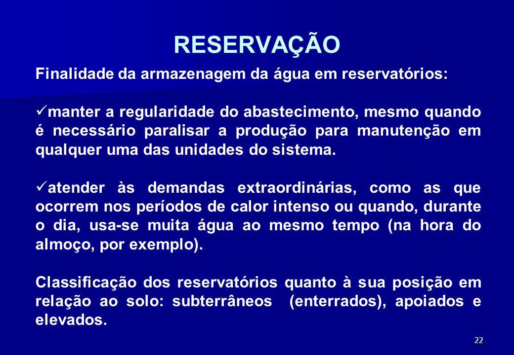 RESERVAÇÃO Finalidade da armazenagem da água em reservatórios: