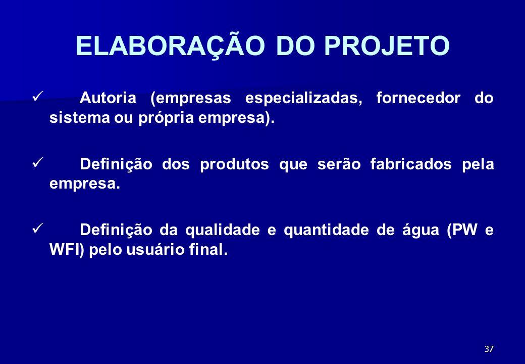 ELABORAÇÃO DO PROJETO Autoria (empresas especializadas, fornecedor do sistema ou própria empresa).