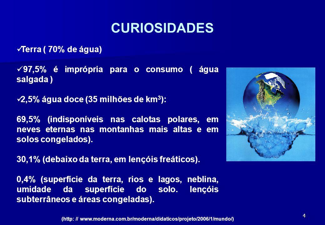 CURIOSIDADES Terra ( 70% de água)