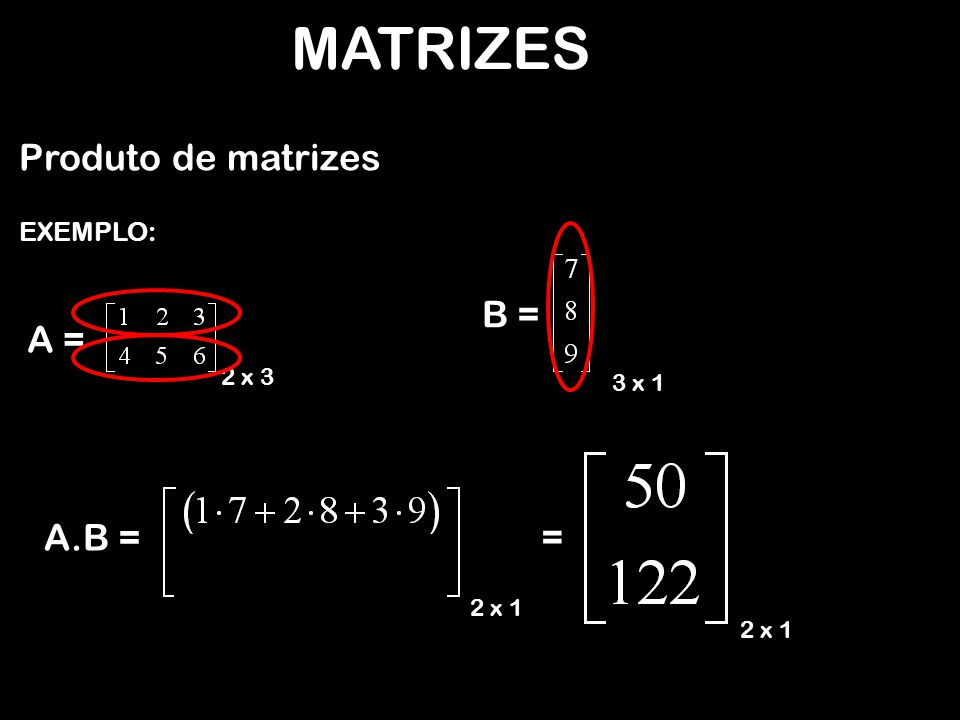 MATRIZES Produto de matrizes B = A = = A.B = EXEMPLO: 2 x 3 3 x 1